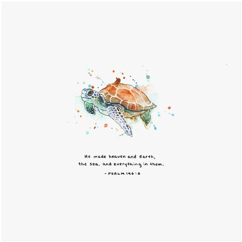 Psalm 146:6 Artwork of a sea turtle -