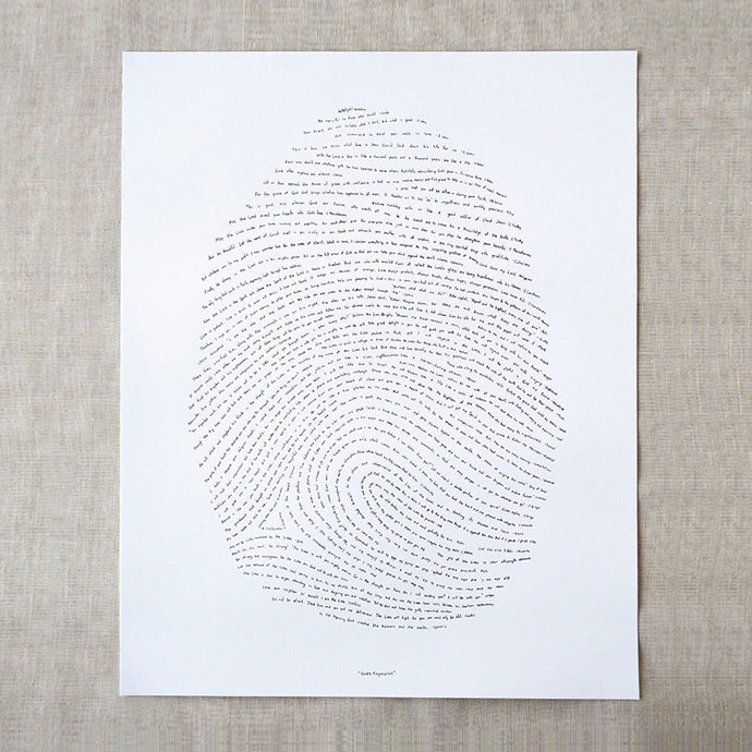 God's fingerprint Scripture Art Print - Bible verse artwork thumbprint