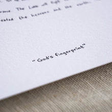 God's fingerprint Letterpress Print
