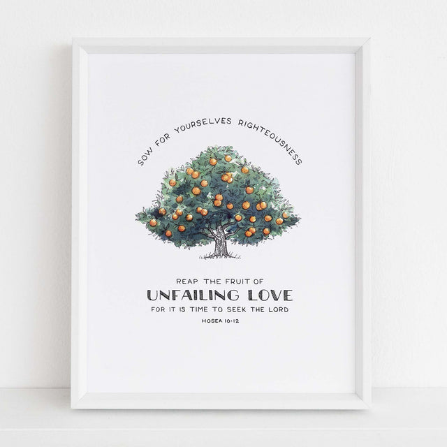 Framed Scripture Art - Hosea 10:12 Tree of Faith