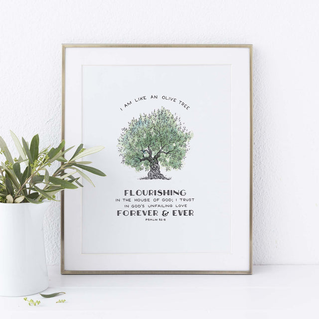 Framed Scripture Art - Psalm 52:8 Flourishing Olive Painting