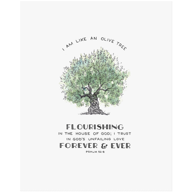 Flourishing Olive - Psalm 52:8 Scripture Art Print