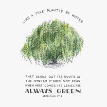 "Scripture Artwork of ""They will be like a tree planted by the water that sends out its roots by the stream. It does not fear when heat comes; its leaves are always green."" - Jeremiah 17:8"