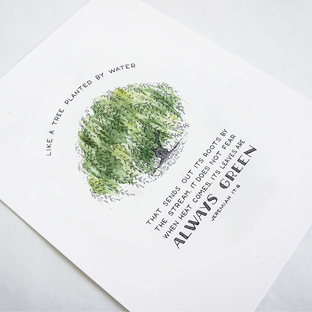Angle shot of Tree Planted by Water - Jeremiah 17:8 Scripture Art Print