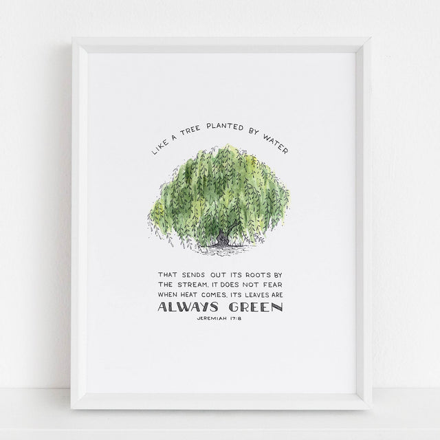Framed Scripture Art - Jeremiah 17:8 Tree Planted By Water