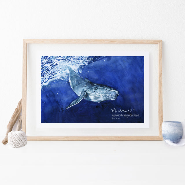 Framed Scripture Art - Psalm 139 Whale Oceans Strength