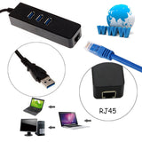 TKA High Speed 3 Ports USB 3.0 Hub 10/100/1000 Mbps To RJ45 Gigabit Ethernet LAN Wired Network Adapter Converter For Windows Mac
