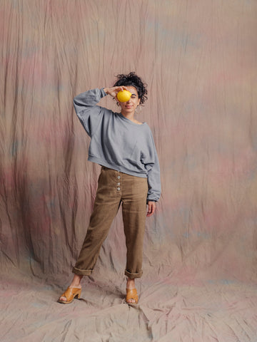 Wendy Pocket Crop Sweatshirt / Overcast Sky Grey