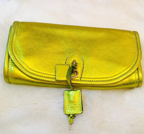 Burberry Prorsum Metallic Yellow/ Green Leather Clutch
