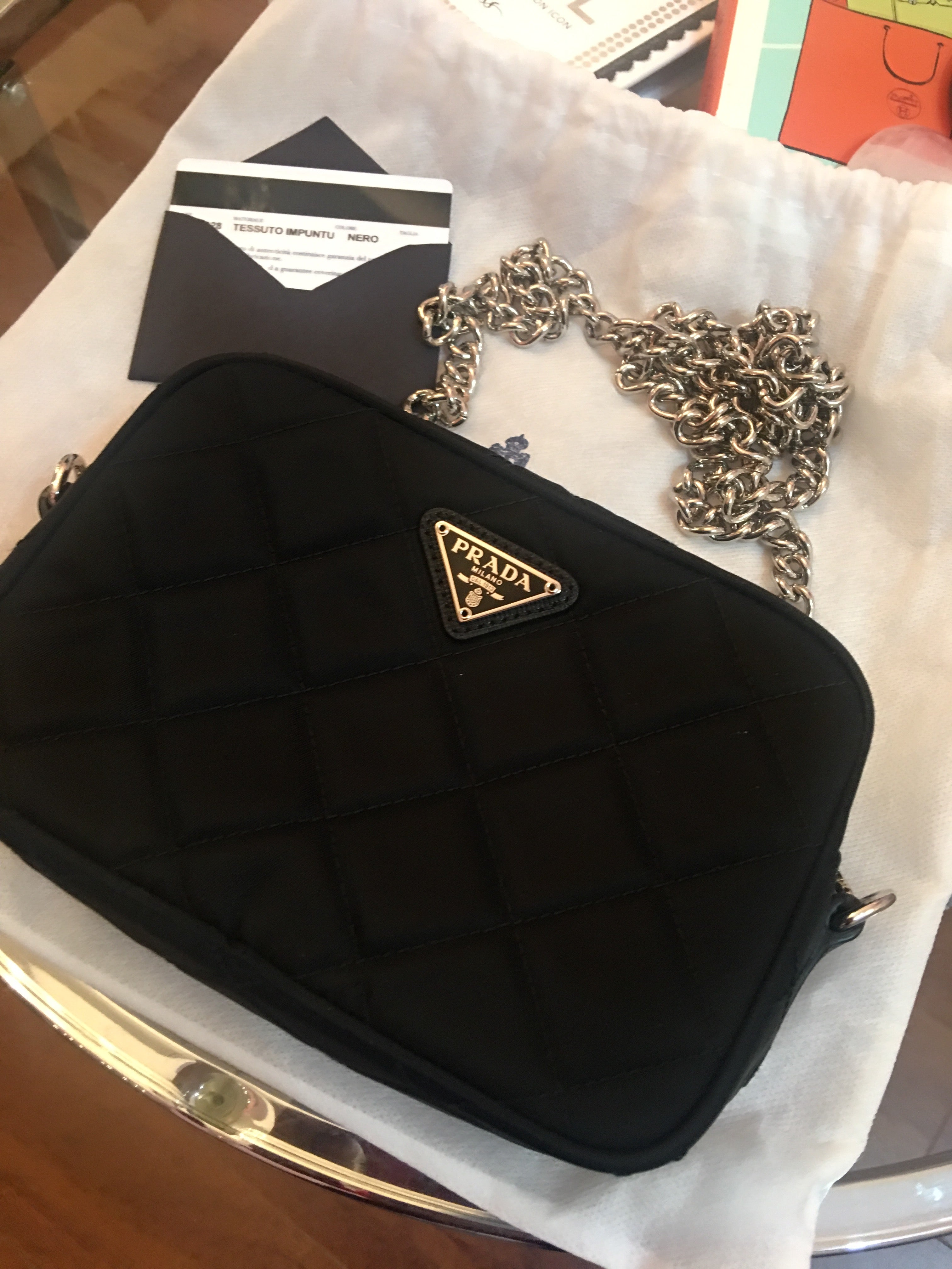 68f43b5b2074 Prada quilted tesuto bag with chain crossbody – Beccas Bags Boutique