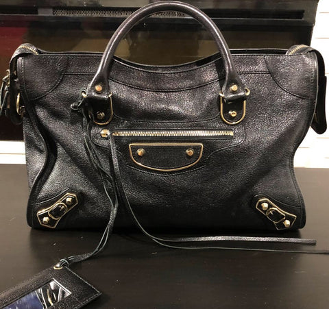 Balenciaga metallic edge city leather tote