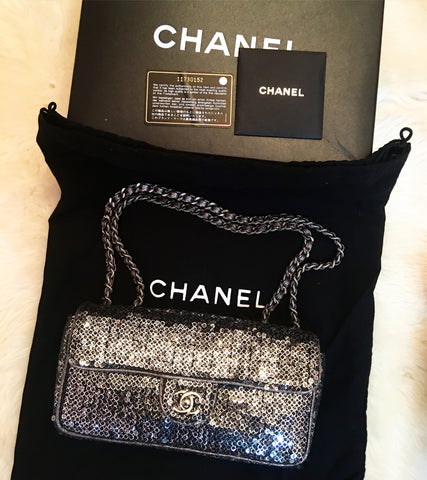 Chanel sequin east west flap
