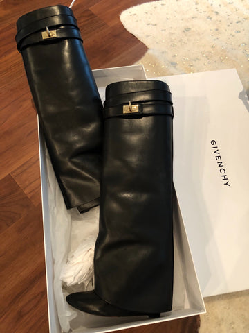 Givenchy shark lock fold over leather boots