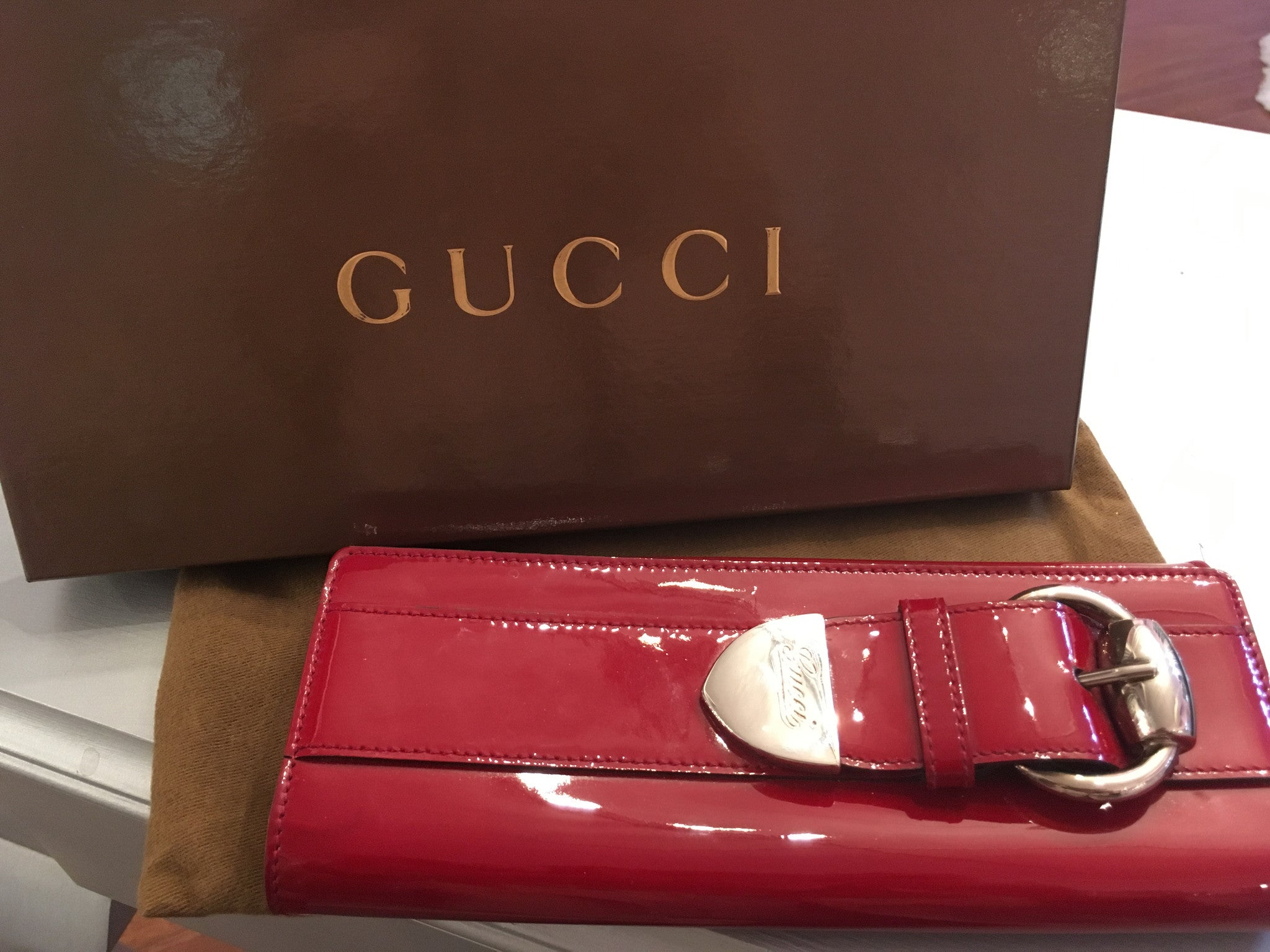 be528f8cb35 Gucci Red Patent Leather Clutch – Beccas Bags Boutique