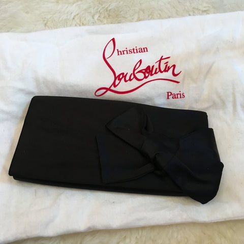 Louboutin Bow Clutch in Black Satin