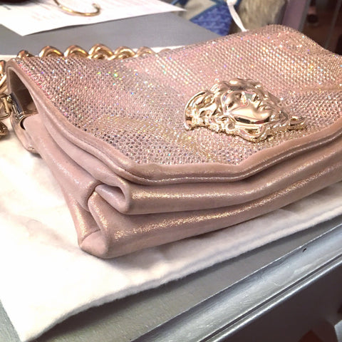 Versace Swarovski crystal shoulder bag