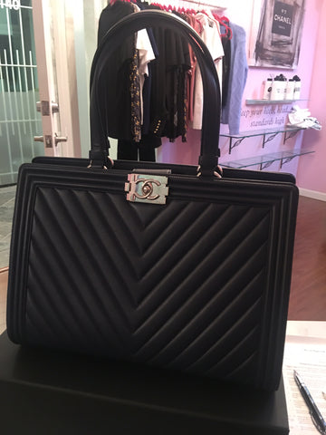 Chanel chevron boy bag shopping tote