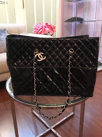 Chanel Vintage quilted shopping tote bag