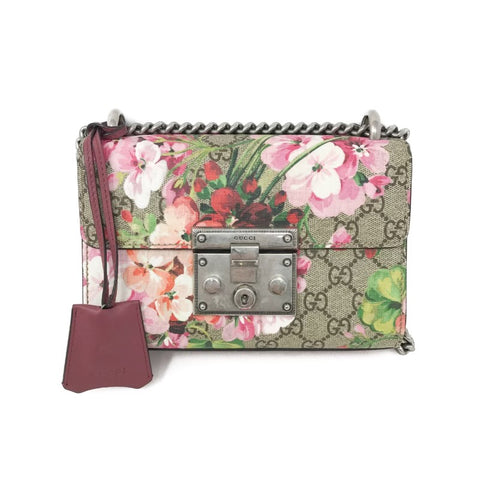Gucci GG Supreme Monogram Blooms Print Small Padlock bag