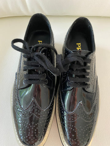 Prada platform lace up shoe