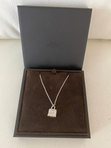 Hermes diamond birkin motif necklace