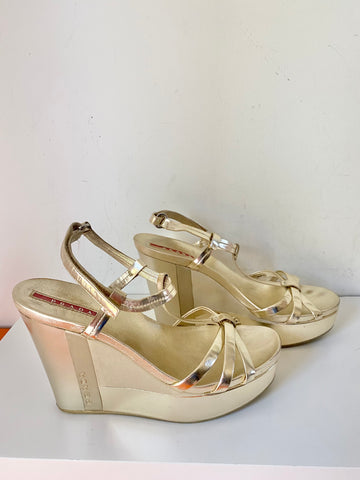 Prada metallic wedge sandal