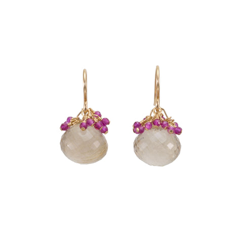 Rutilated Quartz with Pink Sapphire Cluster Earrings
