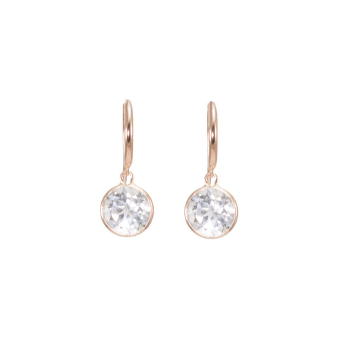 White Topaz Bezel Drop Earrings