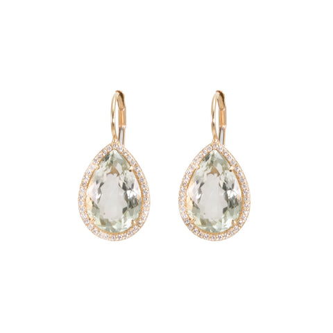 Prasiolite & Diamond Tear Drop Earrings