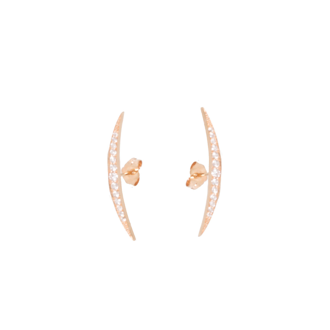 Small Crescent Graduating Diamond Stud Earrings