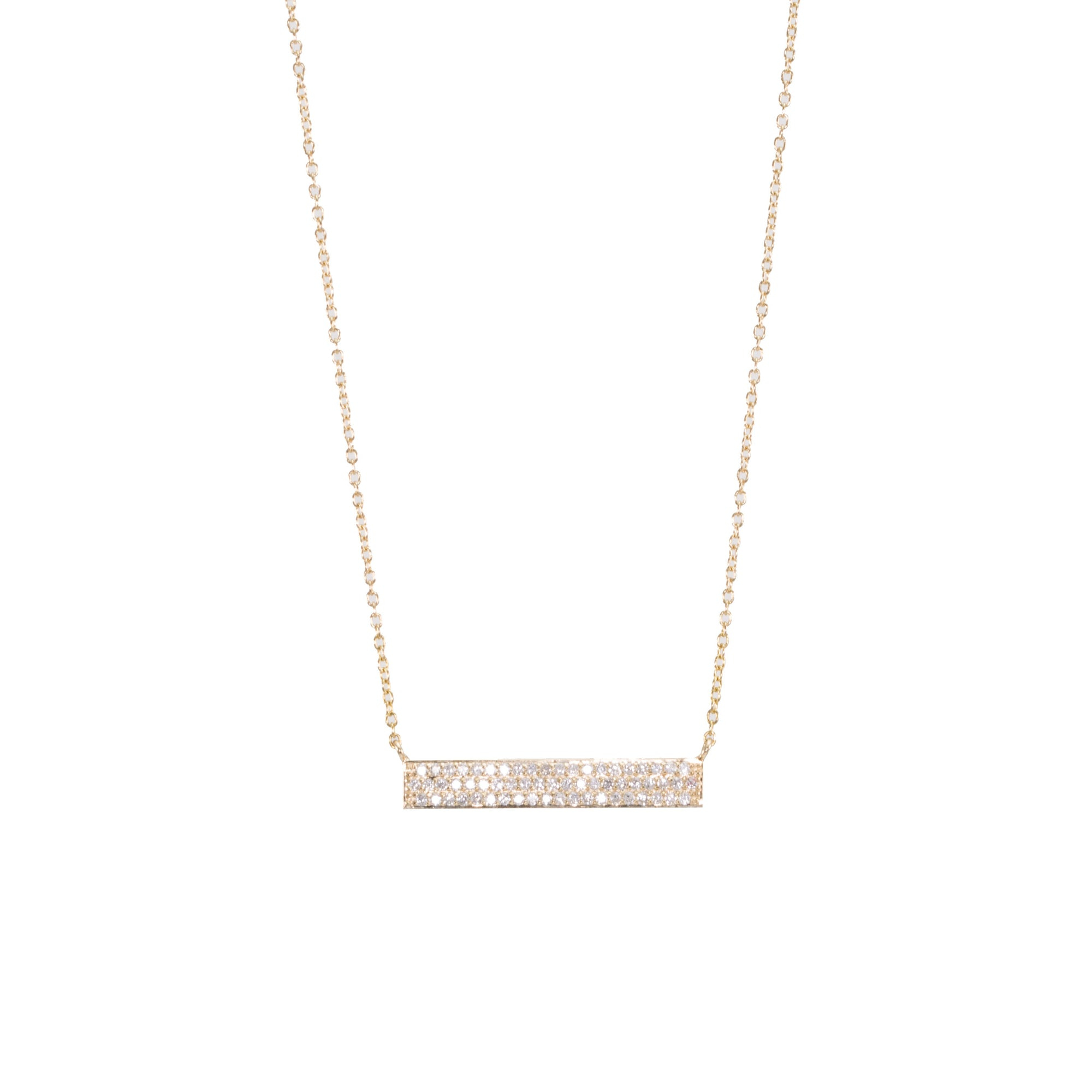 Triple Row Diamond Bar Necklace