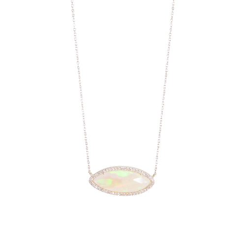 One of a Kind Opal Slice with Diamond Necklace