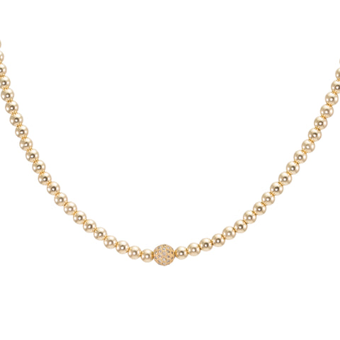 4mm Gold Filled with Champagne Diamond Bead Choker Necklace