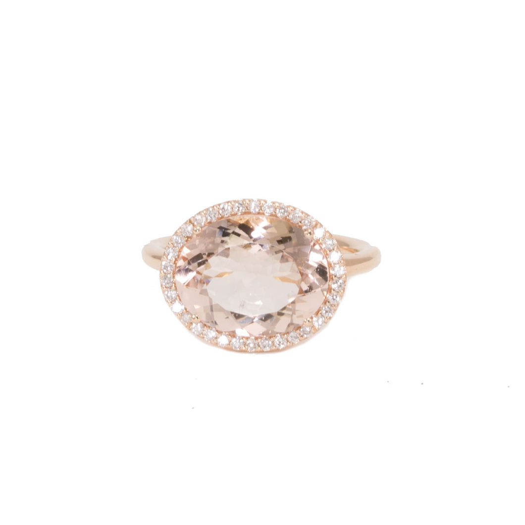 Oval Morganite & Diamond Ring