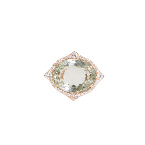 Oval Prasiolite Diamond Ring