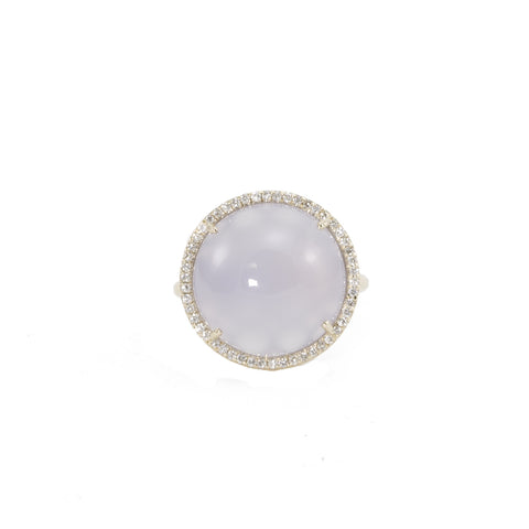 Round Chalcedony Diamond Ring