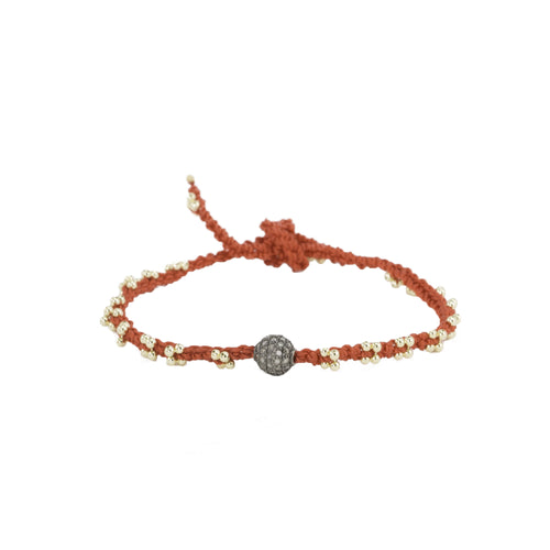 Lucky Red Silk & Champagne Diamond Bracelet