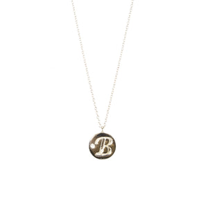Engraved Initial Disc Diamond Necklace