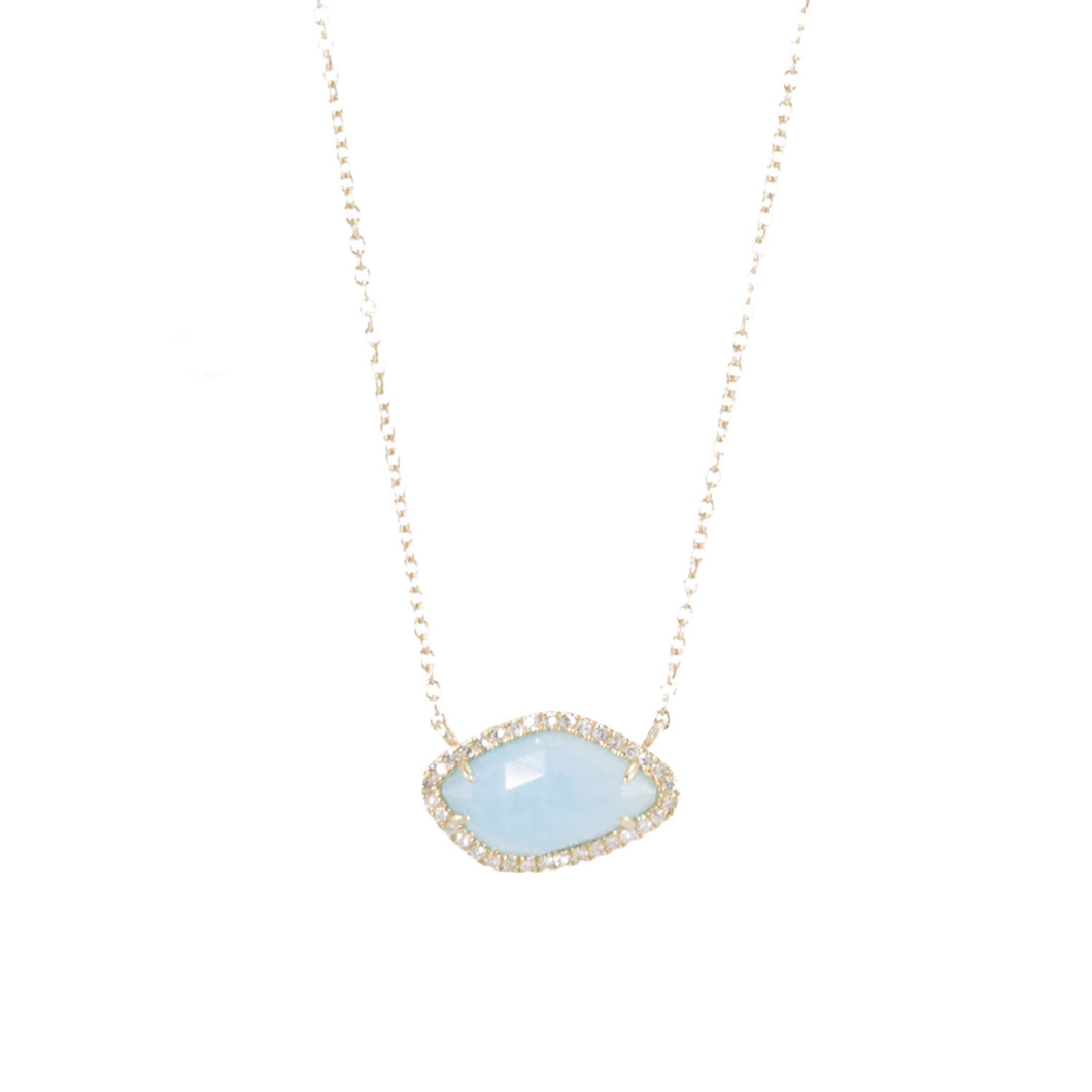 Amazonite Slice Diamond Necklace