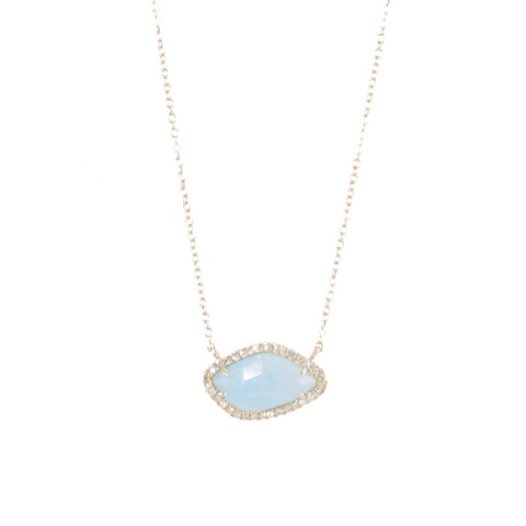 Amazonite Slice with Diamonds Necklace