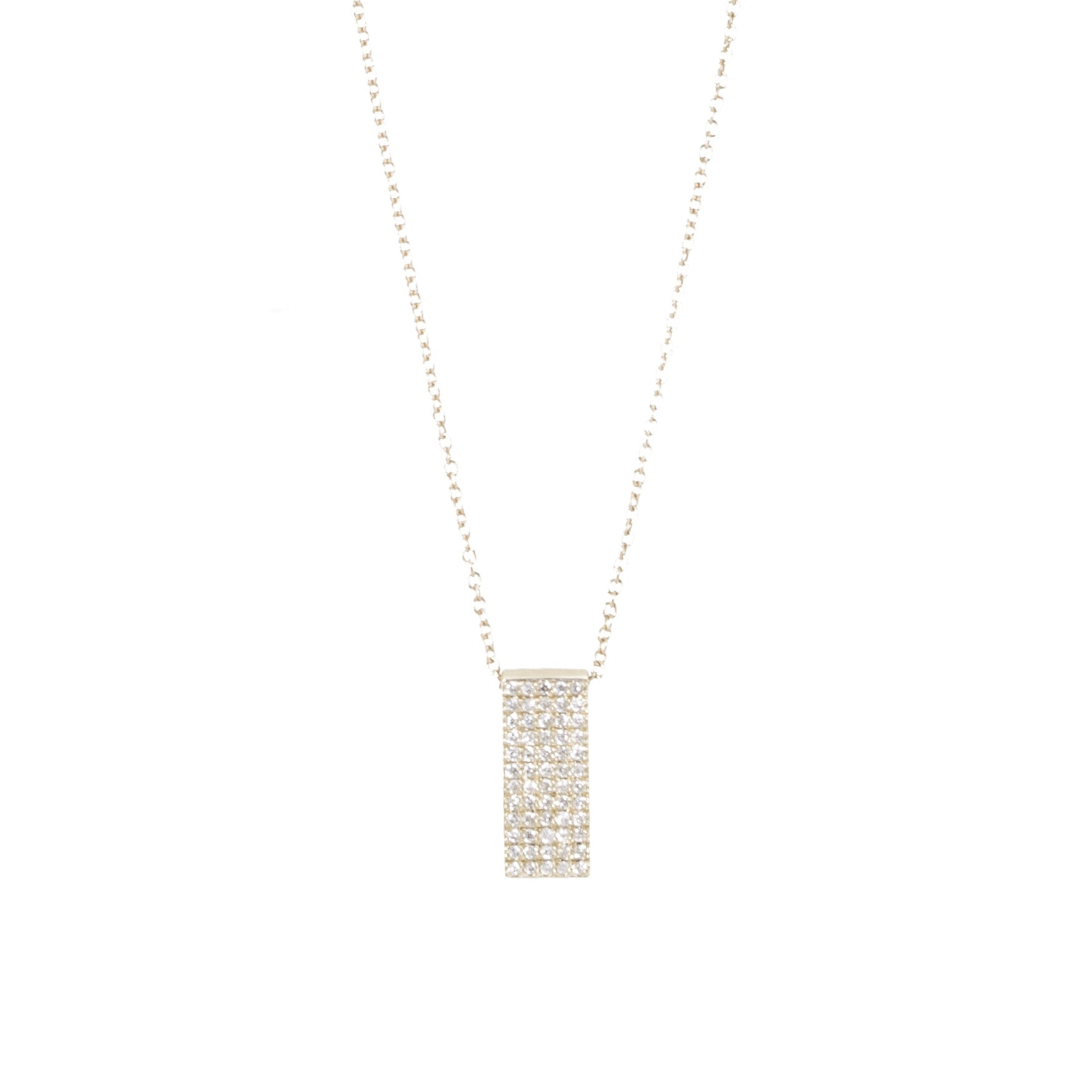 Rectangle Pave Diamond Tag Necklace