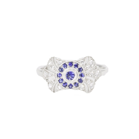 Art Deco Blue Sapphire Diamond Ring