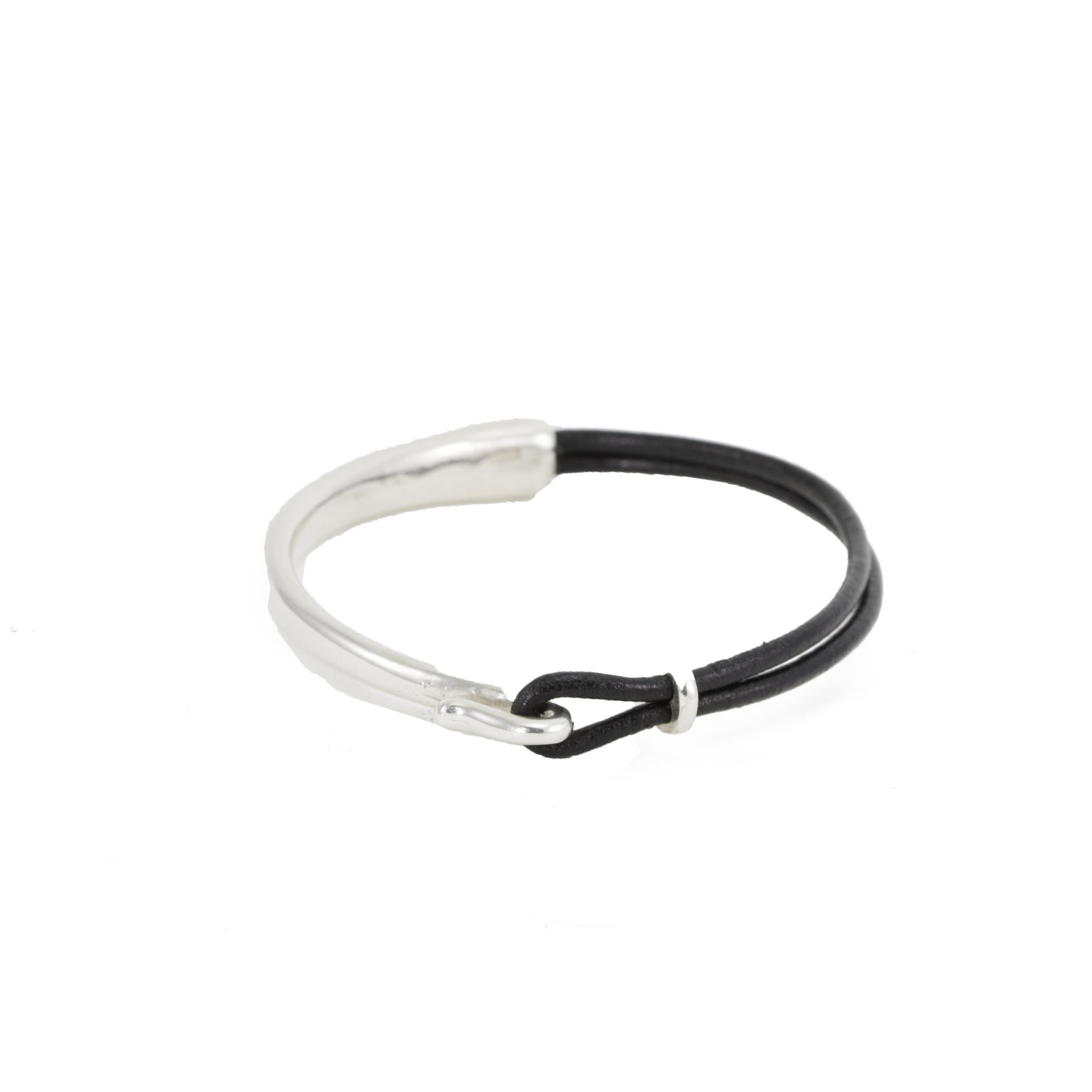 Silver Hook & Leather Bracelet
