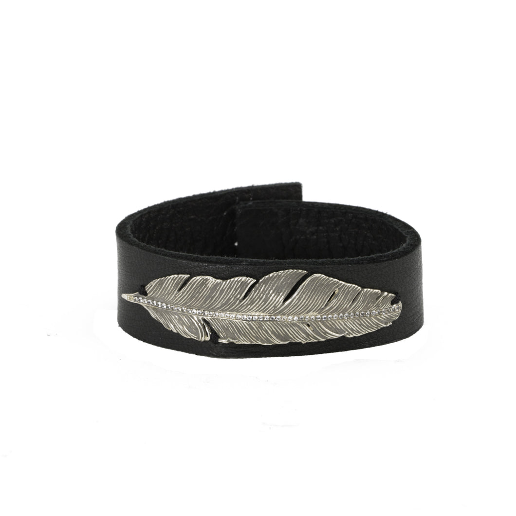 Feather Leather Cuff Bracelet