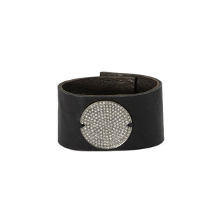 Large Champagne Diamond Disc Leather Bracelet