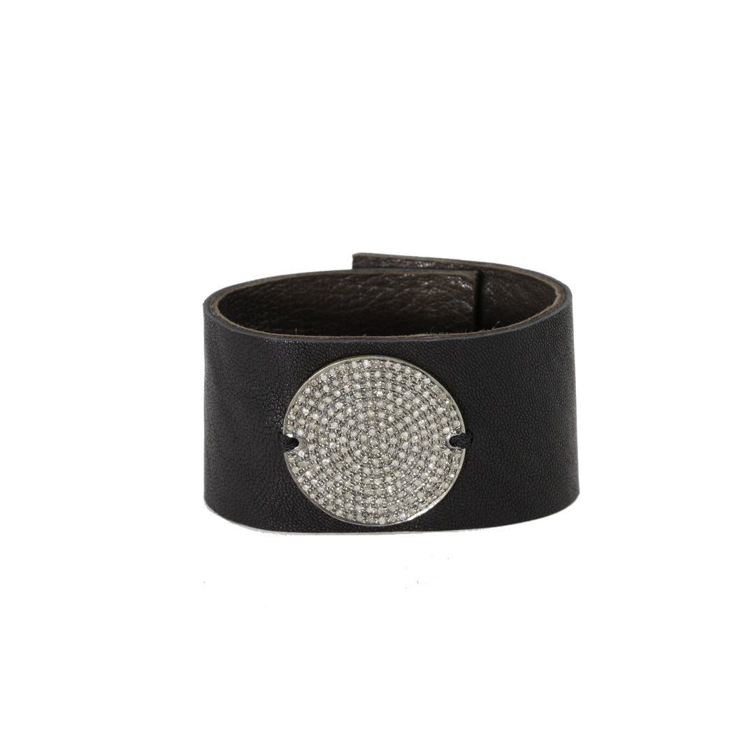 Large Champagne Diamonds Disc Leather Bracelet