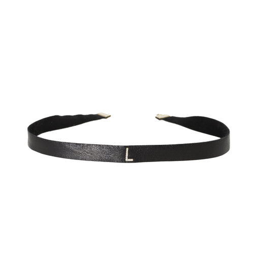 Initial Diamond Leather Choker
