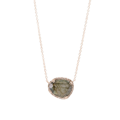 Labradorite Slice & Diamond Necklace