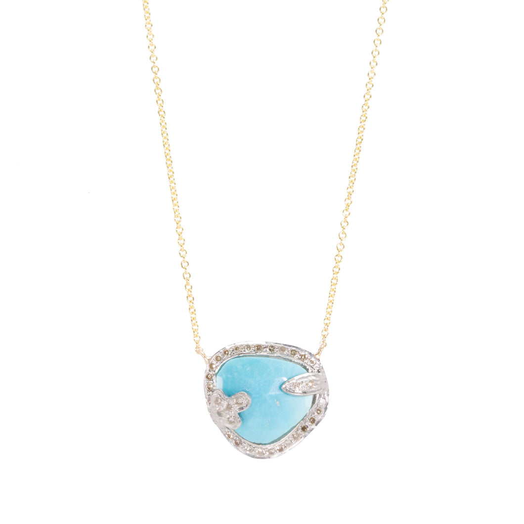 Turquoise Slice Champagne Diamond Necklace