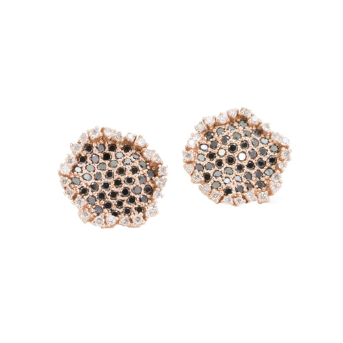 Honeycomb Black Diamond Stud Earrings